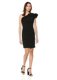 Carmen Marc Valvo Infusion Women's One Shoulder Cocktail Dress W. Ruffle Detail