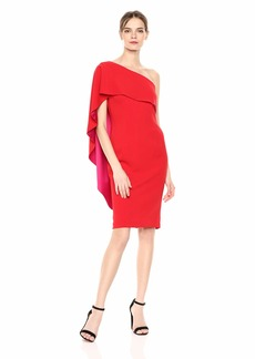 Carmen Marc Valvo Infusion Women's one Shoulder Crepe Cape Back Cocktail Dress red Fuchsia