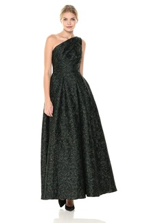Carmen Marc Valvo Infusion Women's One Shoulder Pleated Ball Gown with Metaillic Threads