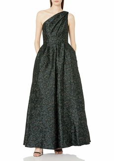 Carmen Marc Valvo Infusion Women's One Shoulder Pleated Ball Gown W/Metaillic Threads