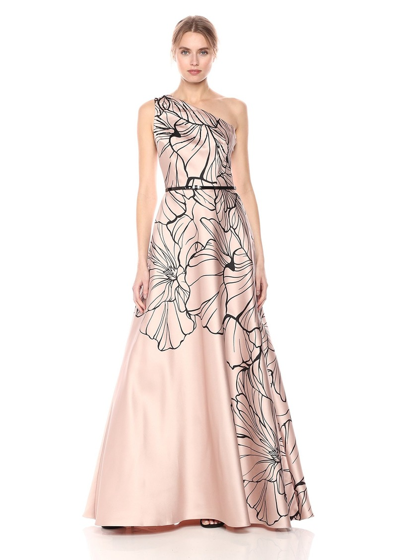 Carmen Marc Valvo Infusion Women's One Shoulder Printed Mikado Gown W/Beads