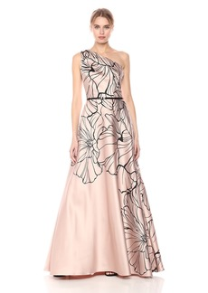 Carmen Marc Valvo Infusion Women's One Shoulder Printed Mikado Gown with Beads