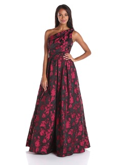 Carmen Marc Valvo Infusion Women's One Shoulder Printed Taffeta Jacquard Gown
