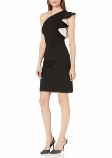 Carmen Marc Valvo Infusion Women's One Shoulder Ruffle Dress