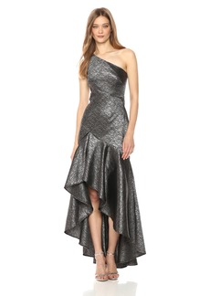 Carmen Marc Valvo Infusion Women's One Shoulder Striped Metallic Jacquard Gown