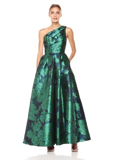 Carmen Marc Valvo Infusion Women's One Shoulder Taffeta Floral Gown