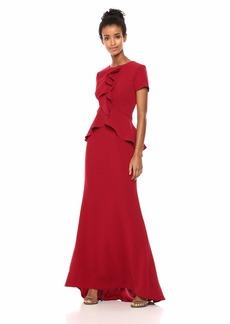 Carmen Marc Valvo Infusion Women's Peplum/Cascade Ruffle Front Gown