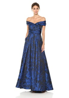 Carmen Marc Valvo Infusion Women's Portrait Collar Brocade Ball Gown with Pockets