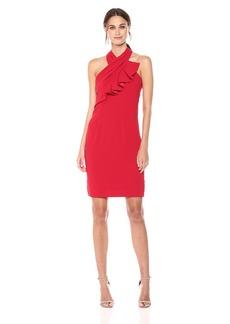 Carmen Marc Valvo Infusion Women's Ruffle Halter Cocktail Dress