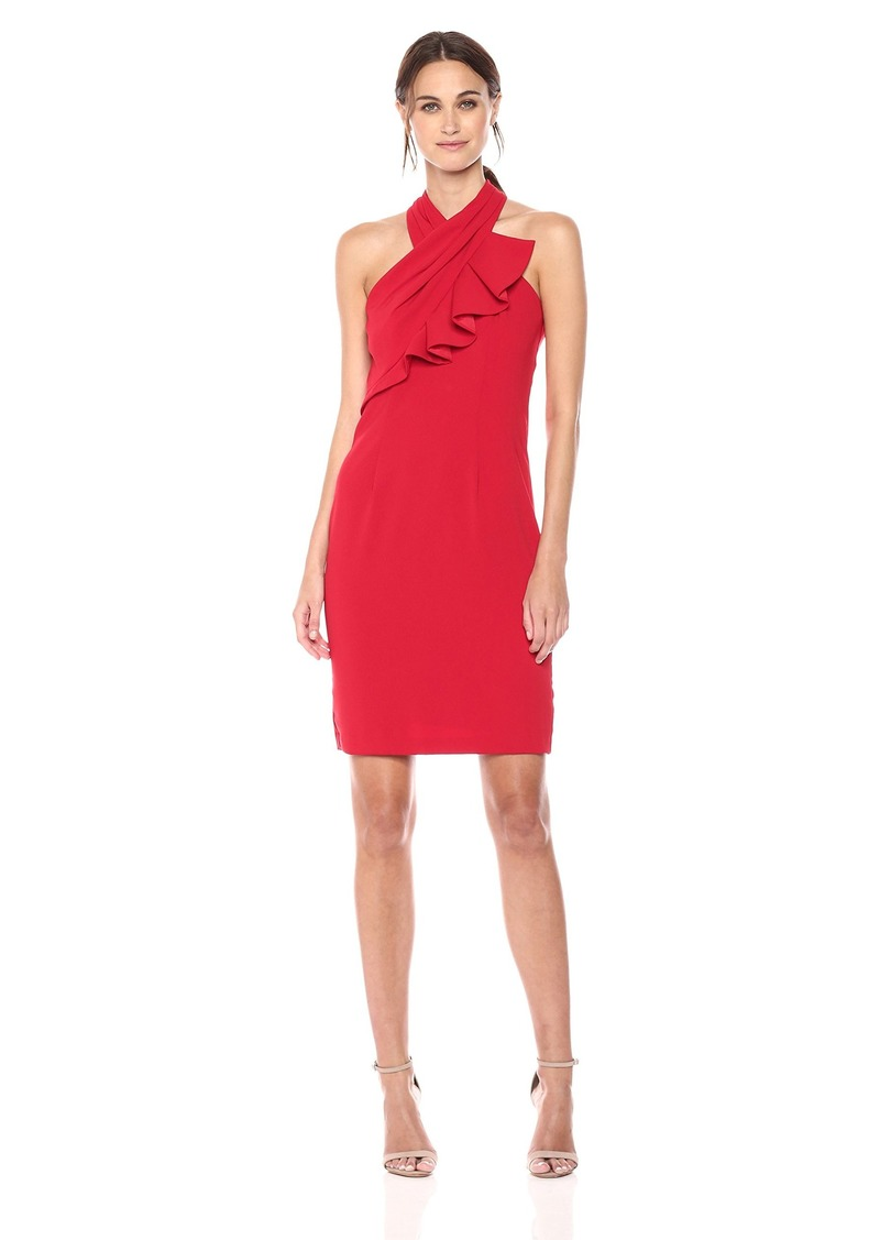 Carmen Marc Valvo Infusion Women's Ruffle Halter Cocktail Dress Flame red