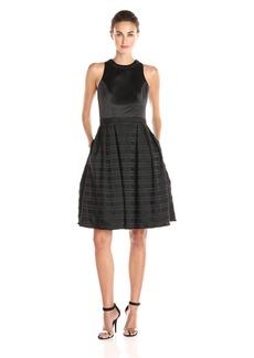 Carmen Marc Valvo Infusion Women's Satin Novelty Stripe Fit and Flare Short Dress With Bugle Bead Choker Trim