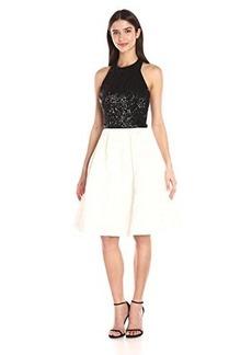 Carmen Marc Valvo Infusion Women's Sequin Halter Top W/ Contrast Color Chiffon Short Skirt