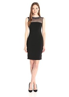 Carmen Marc Valvo Infusion Women's Short Cocktail Dress with Illusion and Beads