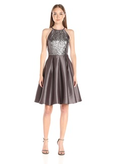 Carmen Marc Valvo Infusion Women's {S Sleeve L=Sleeveless}/l Mikado and Sequin Bodice Halter Short Party Dress