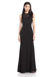 Carmen Marc Valvo Infusion Women's Sleeveless Beaded Soutache Lace Bodice Gown with Stretch Crepe Long Skirt