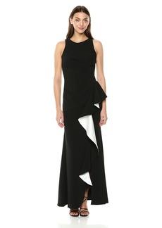 Carmen Marc Valvo Infusion Women's Sleeveless Gown W. Colorblock Cascade Ruffle