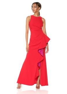 Carmen Marc Valvo Infusion Women's Sleeveless Gown w. Colorblock Cascade Ruffle red/Fuchsia