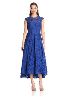 Carmen Marc Valvo Infusion Women's Sleeveless Lace Hi Low With Beaded Accents On Neckline