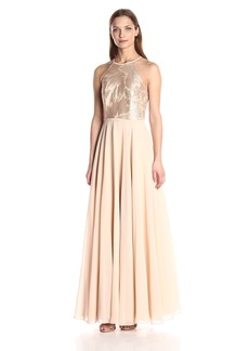 Carmen Marc Valvo Infusion Women's Strapless Sequin Halter Gown with Chiffon Flowy Skirt
