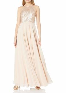 Carmen Marc Valvo Infusion Women's Strapless Sequin Halter Gown W/Chiffon Flowy Skirt