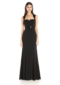 Carmen Marc Valvo Infusion Women's V Cut Crepe Gown with Beaded Trim at Shoulders and Waist