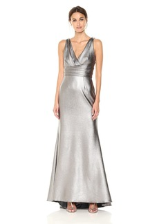 Carmen Marc Valvo Infusion Women's V Front and Back Pleated Metaillic Scuba Gown