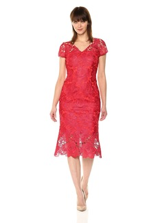 Carmen Marc Valvo Infusion Women's V Front Lace Cocktail Dress W/Higher Hem Lining red