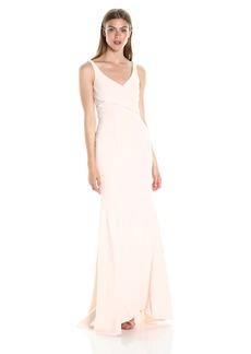 Carmen Marc Valvo Infusion Women's V Neck Cross Front Mermaid Gown W/Large Back Godets
