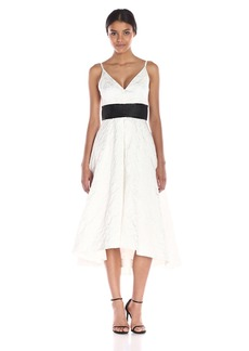 Carmen Marc Valvo Infusion Women's V Neck Jacquard Hi Low Dress with Empire Band