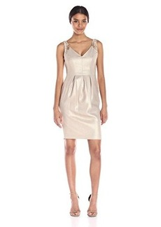 Carmen Marc Valvo Infusion Women's V-Neck Linen Short Dress with Embellishment
