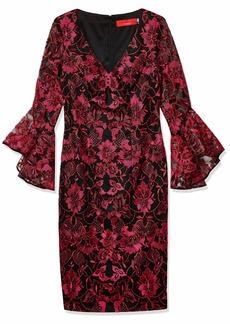Carmen Marc Valvo Infusion Women's V-Neck Novelty Threadwork Sheath W/Tulip Bell Sleeves red/Multi
