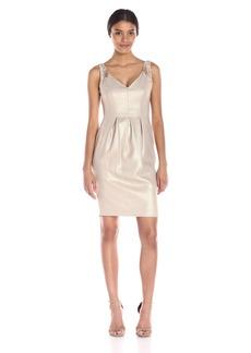 Carmen Marc Valvo Infusion Women's V Neck Sparkle Linen Short Dress with Pleats and Embellishment at Shoulders