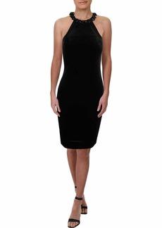 Carmen Marc Valvo Infusion Women's Velvet Halter Cocktail Dress W/Beaded Choker