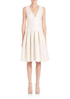 Carmen Marc Valvo Jacquard Drop-Waist Dress