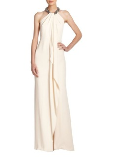 Carmen Marc Valvo Jeweled Cascade-Front Crepe Gown