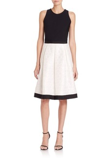 Carmen Marc Valvo Knit & Dot Jacquard Dress