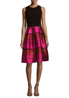 Carmen Marc Valvo Knit Top A-Line Cocktail Dress