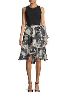 Carmen Marc Valvo Knitted Floral Dress