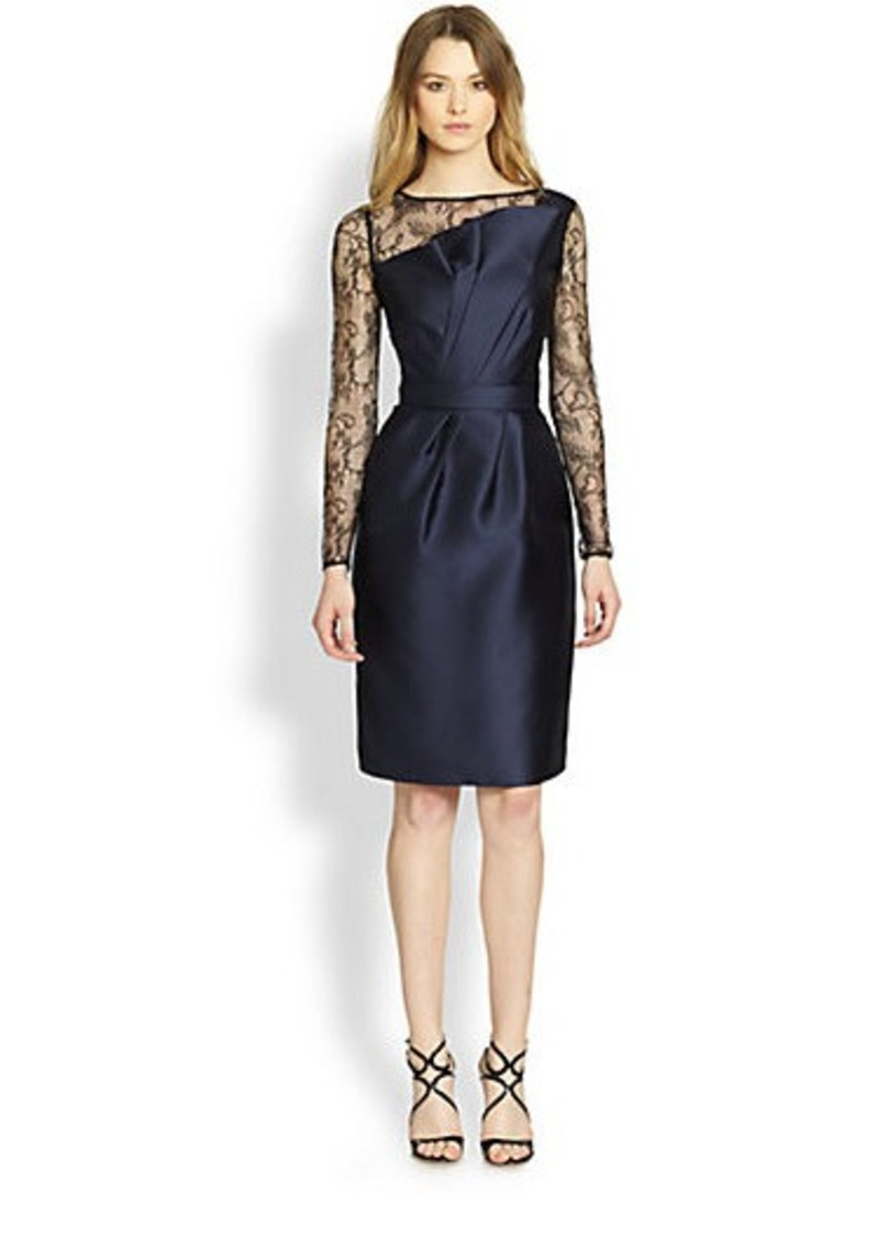 Carmen Marc Valvo Lace & Satin Sculpted Cocktail Dress
