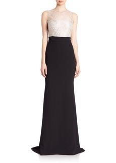 Carmen Marc Valvo Lace-Bodice Gown