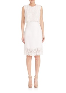 Carmen Marc Valvo Lace Popover Dress
