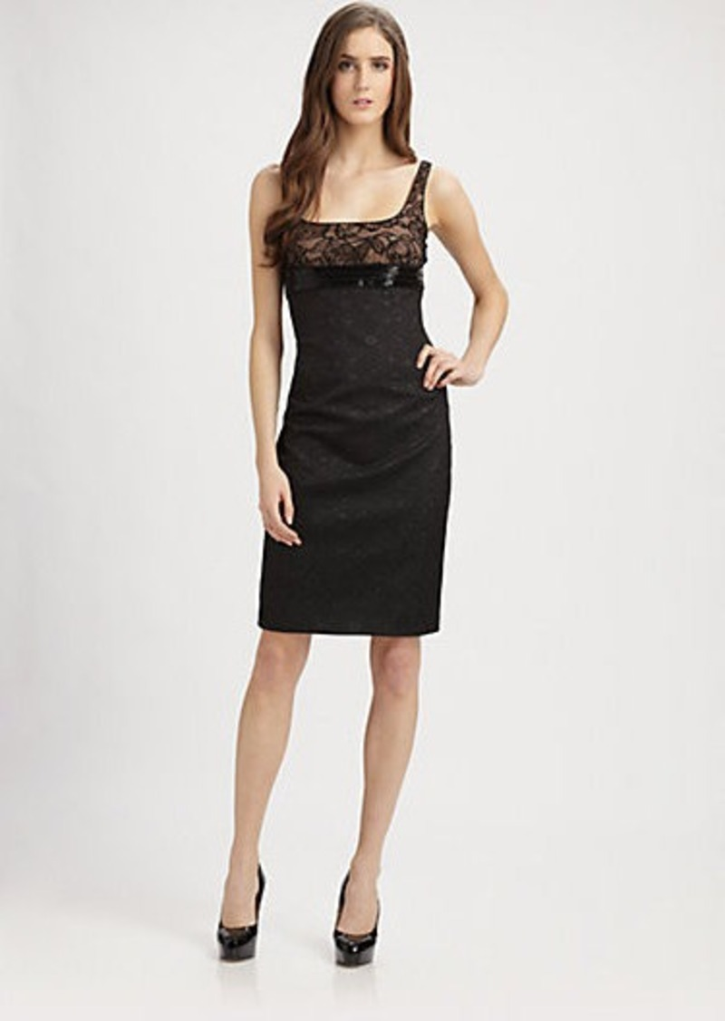 Carmen Marc Valvo Lace Trimmed Brocade Cocktail Dress