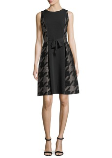 Carmen Marc Valvo Large Houndstooth Self-Tie Cocktail Dress
