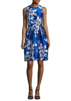 Carmen Marc Valvo Leaf Print Jacquard Cocktail Dress