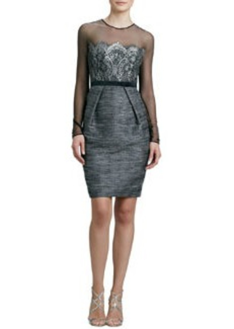 Carmen Marc Valvo Long-Sleeve Cocktail Dress with Lace Bodice