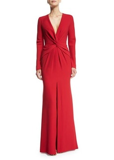 Carmen Marc Valvo Long-Sleeve Front-Twist Gown