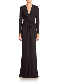 Carmen Marc Valvo Long Sleeve Knot-Front Gown