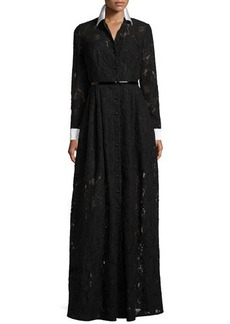 Carmen Marc Valvo Long-Sleeve Lace Belted Gown