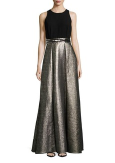 Carmen Marc Valvo Metallic Floor-Length Gown