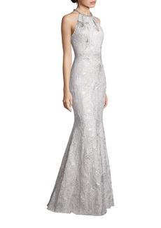 Carmen Marc Valvo Metallic Jacquard Halter Gown